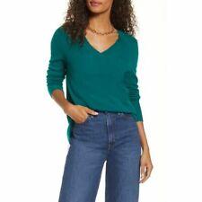 Halogen V-Neck 100% Cashmere Pullover Sweater Size XS V-Neck Back Knit Green