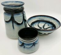 Vintage Diana McClure Handcrafted Clay Pottery Set of 3 Ceramics Vase Bowl Dish
