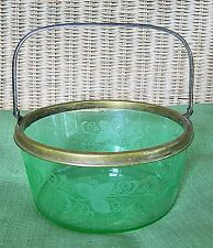 ATQ HAWKES ETCHED DECORATED URANIUM GLASS ICE BUCKET SILVER PLATE HANDLE, SIGNED
