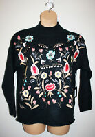 NEW Womens CLICHE Floral Embroidered Navy Knit Multi-Color Sweater Large L NWT