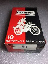 A-8 Champion Spark Plugs - Box of 10 -NEW Old Stock NOS- Made in USA Motorcycle