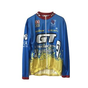 De Marchi GT Shimano Cycling Jersey Multicolor Shirt Large Full Zip Long Sleeve