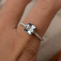 Natural Aquamarine Gemstone Ring 1.55 ct Diamond Rings 14kt White Gold MPN31