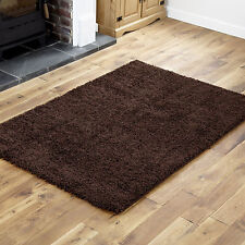 NEW X LARGE-LARGE-MEDIUM-SMALL CHOCOLATE BROWN THICK 5CM HIGH PILE SHAGGY RUGS