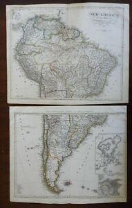 South America Peru Brazil Chile La Plata 1843 Stulpnagel detailed two sheet map