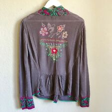 IVKO Woman Floral Embroidered Linen Cardigan XL