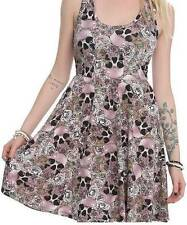 3X~sexy~SKULL~punk~ROSE~TATTOO~rockabilly~BABY DOLL~pink~DRESS~plus torrid bow