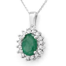 3.48 CTW Emerald & Diamond Pendant 14K White Gold - REF-47W6H - 14015 Lot 3438