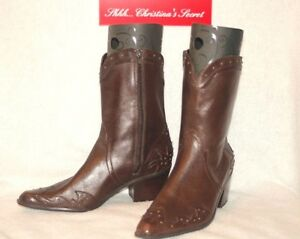 ANA Womens Western Boots Mid Calf Leather Brown Sz 9M * XLNT++ $100