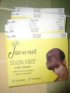 Jac-O-Net Lot =20 NOS Hair Net with Elastic #255 Bouffant size Black