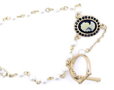 Punk disco gold and pearl cameo lady link chain bracelet & cross ring