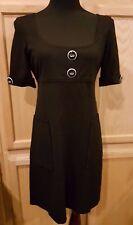 Nine West Black Empire Waist Front Side Slit Patch Pockets Shift Dress, 6R - $99