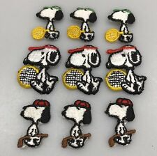 9 Snoopy Peanuts Gang Embroidered Patches Tennis & Golf NOS 1970s Country Club