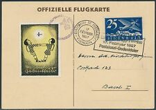 SWITZERLAND 1927 FLIGHT WITH VIGNETTE TIED ON SPECIAL CARD TO BASEL BR8744