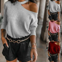 ❤️ Women's Cold Shoulder Jumper Sweater Casual Long Sleeve Pullover Blouse Tops