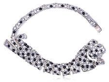 Fashion Silver Black Enamel Clear Crystal Green Rhinestone Leopard Slim Bracelet