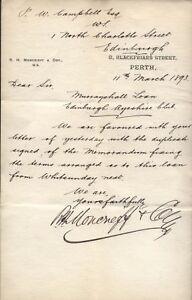 1893 PERTH, 8, BLACKFRIARS ST. R. H. MONCRIEFF & CO. RE EDINBURGH AYRESHIRE CLUB