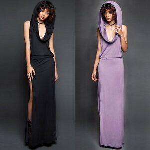 Womens Split Side Dress Evening Party Club Sleeveless Hooded Slim Maxi Dress