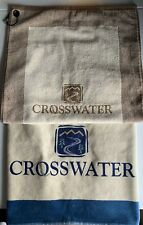 Brand New Crosswater Golf Course Quality Towel Set (2) White/Blue and Tan/Brown