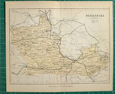 1882 SMALL ANTIQUE COUNTY MAP ~ BERKSHIRE READING WINDSOR ABINGDON HUNGERFORD