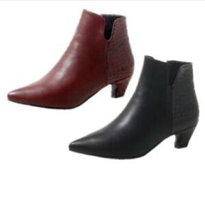 New Women Casual Office Smart Ankle Boots Kitten Heel Pointy Toe Shoes 34-54 D