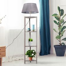 Free Standing Floor Lamp Bedside Light Tripod Holder Storage Shelf Grey Shade