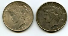 2 USA PEACE SILVER DOLLARS 1923 1925 UNITED STATES OF AMERICA