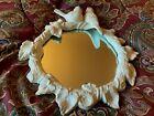 Vintage 3D Cast Iron Birds WALL MOUNT MIRROR~Shabby Chic~Cream Paint~11' X 9.5'