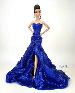 Handmade Blue Evening Dress Outfit Gown For Silkstone Barbie Fashion Royalty FR