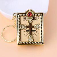 Religious Christian Keychain English Spanish Mini HOLY Bible Cross Key Chain