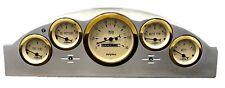 1957 Ford Car 5 Gauge Dash Panel Insert Cluster Set Billet Aluminum Gold Bezel