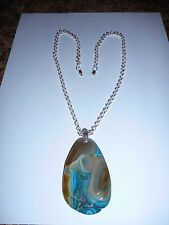 Druzy geode agate faceted teardrop pendant on silver chain necklace