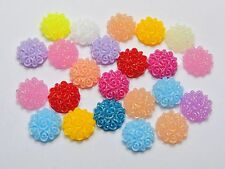100 Mixed Color Flatback Resin Floral Round Cabochons 10mm DIY Craft