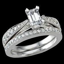 1CT CZ Center stone sterling silver designer engagement ring set untarniable