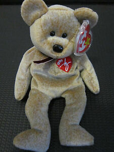 TY Beanie Baby Original 1999 SIGNATURE Bear RARE RETIRED MINT w/ Label Protector