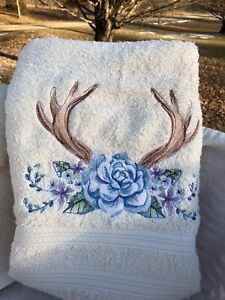 3 Piece Towels Set Machine Embroidered Antler Blue Roses