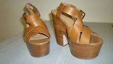 Office Brown Leather Platform Heels Shoes Sandals  Size 7(40) -Brand new
