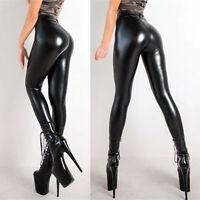 Women's Wet Look Pants Faux Leather Skinny Leggings High Waist Pencil Trousers