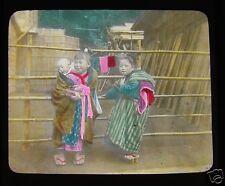 GLASS MAGIC LANTERN SLIDE CHILDREN AT MIYANOSHITA C1910 JAPANESE JAPAN HAKONE