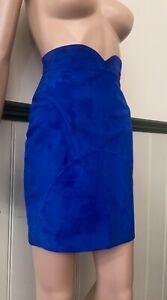 Jitrois Vintage Cobalt Blue Suede Bodycon Saddle Skirt FR 36 / 2 US