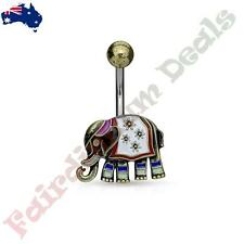316L Surgical Steel Antique Gold Belly Ring with Enamel Coloured Elephant