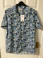 New Wax London Didcot Short Sleeve Bolan Shirt, Blue Floral, Small, RRP £85