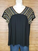 A:Glow Maternity Black Embroidered Boho Blouse Womens Size XL EUC