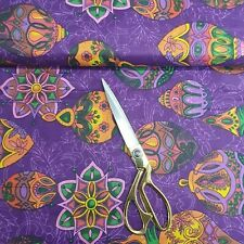 100% Cotton Indian Printed PURPLE Floral Soft Craft Summer Dress Fabric 112cm