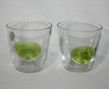 Set of 2 Hand Made Quality Blown Glass Clear Green Dots Bubbles Cocktail Glasses