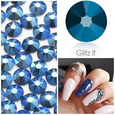 Swarovski X 50 Mixed Size Metallic Blue Glue on Crystals Rhinestones Nail Art