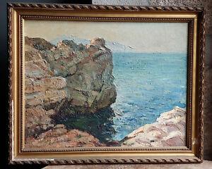 TABLEAU ancien 1940 signé Peinture huile bois HSP Marine calanque mer côte sud