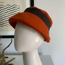 Vtg Vintage 30s 1930s Orange Wool Hat Cap Black Grosgrain Band Bow One Size