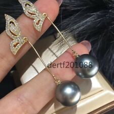natural South Sea Gray Pearl Earrings Silver Plated Gold AAAAA 11.5-12mm