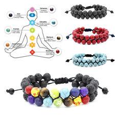 7 Chakra Natural Lava Rock Stone Bracelet Relieve Anxiety Women Men Bracelets